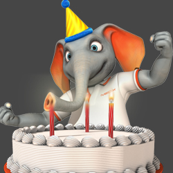 elephant blowing out candles image